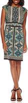London Times London Style Collection Cap-Sleeve Scroll Print Sheath Dress
