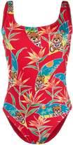 Moschino Teddy Bear tropical print swimsuit