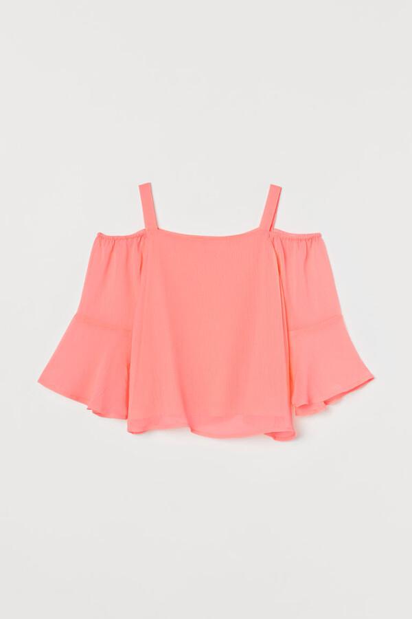 H&M Open-shoulder Blouse - Pink