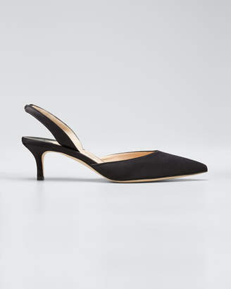 Manolo Blahnik Carolyne Satin Low-Heel Slingback Pumps, Black