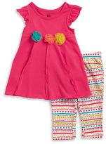 Kids Headquarters Girls 2-6x Little Girls Tulle Flower Accented Dress and Leggings Set