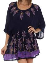 Sakkas 982 Embroidered Batik Gauzy Cotton Tunic Blouse