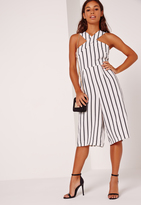 Missguided Petite Exclusive Stripe Cross Front Culotte Romper White