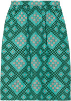 Roselyn printed cotton-blend pencil skirt