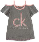 Calvin Klein Cold-Shoulder T-Shirt, Big Girls (7-16)