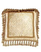 "Isabella Collection Framed Medallion Pillow with Tassel Trim, 20""Sq."
