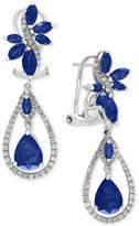Effy Royal Bleu Sapphire (4-3/4 ct. t.w.) and Diamond (5/8 ct. t.w.) Fancy Drop Earrings in 14k White Gold