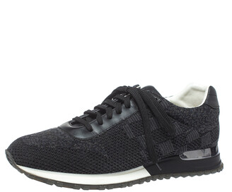 Louis Vuitton Black Damier Knit and Leather Run Away Sneakers Size 41