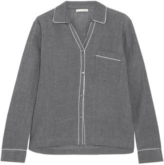 Skin Delaney Crinkled Cotton-gauze Pajama Top