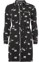 Dorothy Perkins Womens Monochrome Swan Print Piped Shirt Dress- Fl Multi