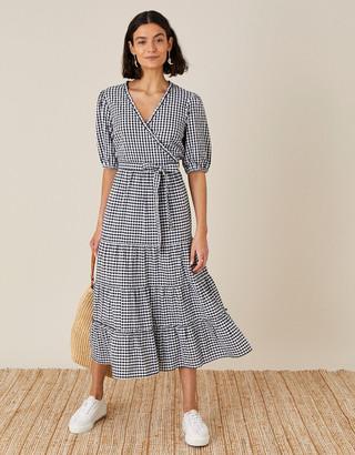 Monsoon Gingham Wrap Dress in Organic Cotton Black
