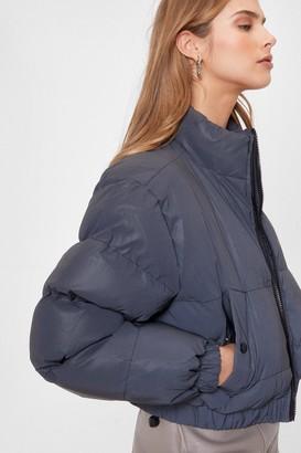 Nasty Gal Womens Reflect Back Cropped Padded Jacket - Black
