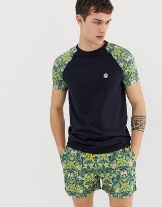 Le Breve co-ord tropical print raglan t-shirt-Navy