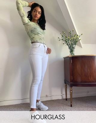 ASOS DESIGN Hourglass lift and contour skinny jeans in optic white