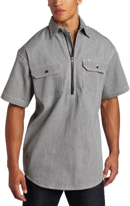 Key Apparel Key Industries Men's Big and Tall & Tall Short Sleeve Zip Front Hickory Stripe Logger Shirt 3X-Large/Tall