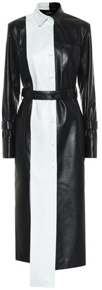 Rokh Paneled leather trench coat