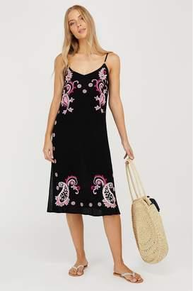 Monsoon Womens Shai Embroidered Ecovero Dress - Black