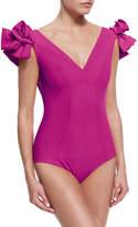 Chiara Boni Belvisette V-Neck Two Rose One-Piece Swimsuit