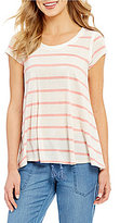 Jolt Short Sleeve Striped Lace Back Top