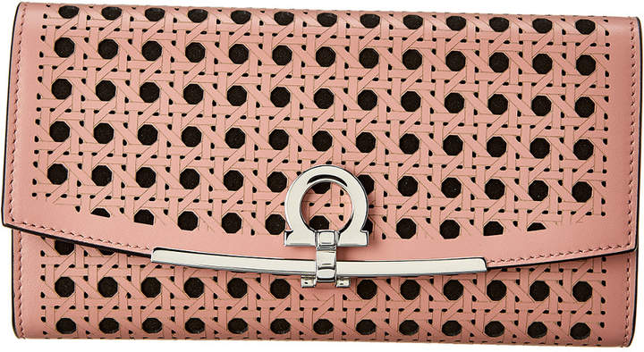 Salvatore Ferragamo Gancini Laser-Cut Leather Wallet