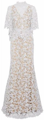 Reem Acra Two-tone Cotton-bend Guipure Lace Gown