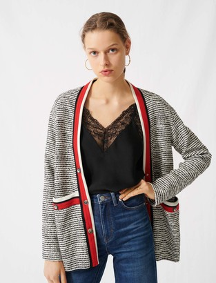 Maje Tweed-effect cardigan, colourful bands