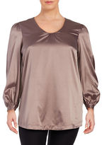 Melissa McCarthy Plus Solid Long Sleeve Blouse