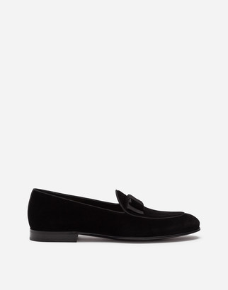 Dolce & Gabbana Velvet Loafers With Bow Tie