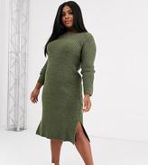 Vero Moda Curve knitted midi dress with side split in khaki