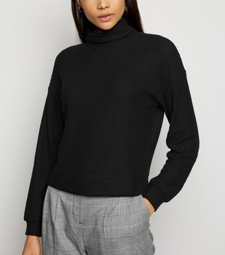 New Look Brushed Waffle Roll Neck Jumper