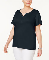 Karen Scott Plus Size Cotton Henley T-Shirt, Created for Macy's
