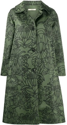 Odeeh Floral-Print Cotton Coat