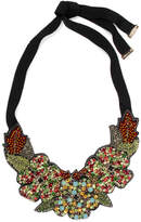 Etro Silver-tone, Crystal, Bead And Felt Necklace