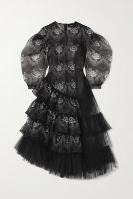 Simone Rocha Ruffled Printed Chiffon And Tulle Midi Dress - Black