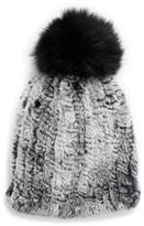 La Fiorentina Genuine Rabbit Fur Hat with Genuine Fox Fur Pom