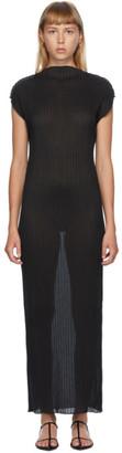Jil Sander Black Pleated Turtleneck Dress