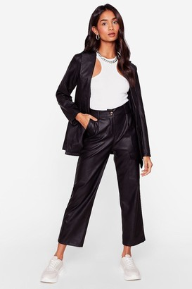 Nasty Gal Womens Takin' Care of Business Faux Leather Wide-Leg Pants - Black