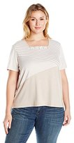 Alfred Dunner Women's Plus Size Assymetrical Stripe Knit Top