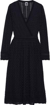 M Missoni Wrap-effect Crochet-knit Wool-blend Dress