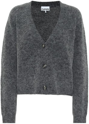 Ganni Alpaca and wool-blend cropped cardigan
