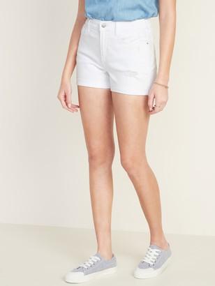 Old Navy Mid-Rise Distressed Boyfriend White Jean Shorts for Women - 3-inch inseam