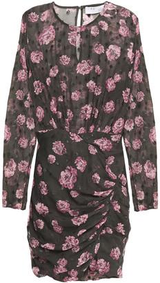 IRO Ruched Metallic Fil Coupe Floral-print Chiffon Mini Dress