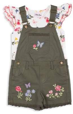 Little Lass Baby Girl's 2-Piece Butterfly Cotton Shortalls & Ruffle Top Set