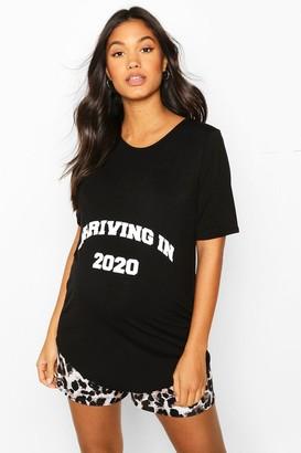 boohoo Maternity 'Arriving In 2020' Leopard PJ Short Set