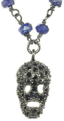 Rachel Reinhardt Silver Gemstone Skull Pendant Necklace