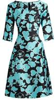 Oscar de la Renta V-neck floral-print full-skirt silk dress