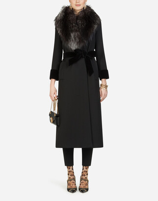 Dolce & Gabbana Long Wool Jacket With Fur Collar