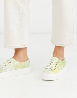 Vagabond Peggy tie dye flatform sneakers in yellow