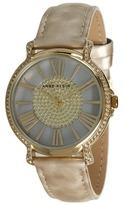 Anne Klein AK-1346CMHN Swarovski Crystal Accented Gold-Tone Horn Pattern Strap Watch (Beige) - Jewelry