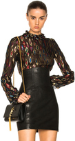 Saint Laurent Fil Coupe Blouse in Abstract,Black,Metallics,Red.
